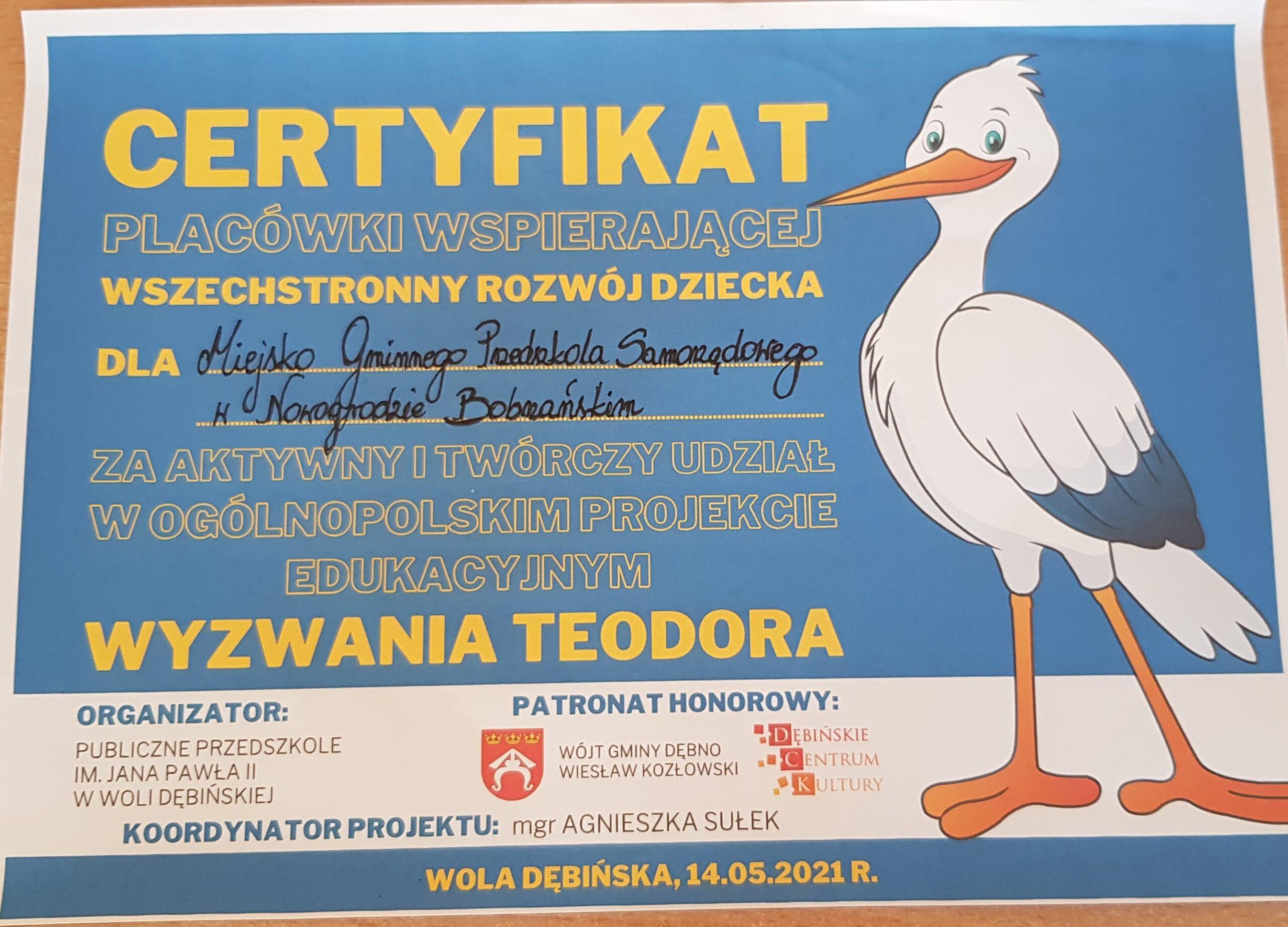 """Ogólnopolski Projekt """"Wyzwania Teodora"""""""